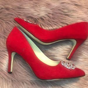 Adrienne Vittadini Red Suede Pump Heels
